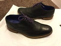 TED BAKER MENS BLACK LEATHER BROGUE SHOES SIZE 10, WORN COUPLE OF TIMES ONLY, MINT CONDITION BARGAIN