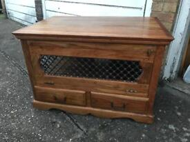 Jali Indian Wood Tv Cabinet/Table with two drawers