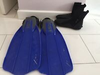 Tusa Liberator X-Ten Open Heel Fins with large boots