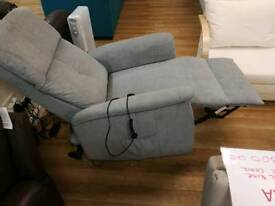 Grey fabric rise and recline heated armchair with remote controls