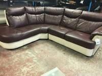 Ex display corner sofa in chocolate and cream leather