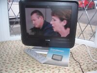 "Goodmans 12"" portable digital TV with remote and instructions"
