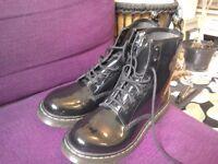 Dr Martens boots, black patent leather. Size 8