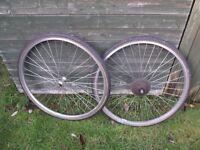 Pair Of 700c (28in) Hybrid Bike Wheels And Tyres