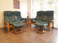 Ekornes Stressless 2x2 reclining sofas and 2 footstool