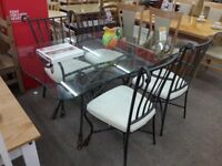 Glass/Metal Dining Table + 4 Chairs