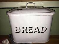 White Vintage Enamel Bread Bin. Shabby chic for bread or vegetables.