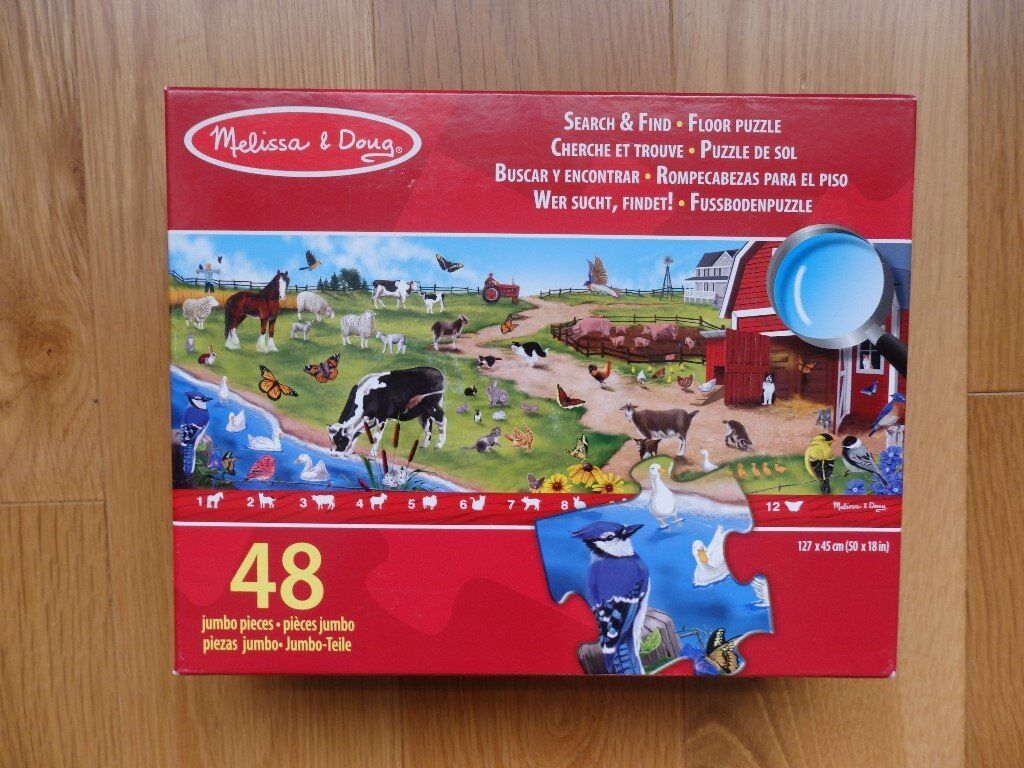 Melissa & Doug 48 Jumbo Piece Farm Floor Puzzle. Good Condition.