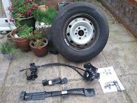Fiat Ducato motorhome unused sparewheel and original equipment wheel carrier kit.
