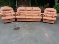 three pieces leather suite, three seater sofa, couch, settee, single chair (free local delivery)
