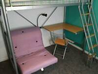 high sleeper bed, futon and desk