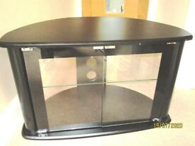 BLACK & GLASS CORNER TV STAND WITH 2 DOORS & SHELF - TV UP TO 42ins SCREEN