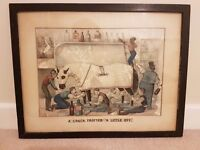 "Two Humorous Currier & Ives Lithograph Prints "" A Crack Trotter"""