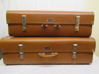 PAIR OF VINTAGE VANGUARD ANIMAL PRINT EFFECT EXPANDING SUITCASES WITH KEY FREE DELIVERY