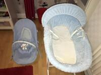 Baby's bouncing chair and Moses basket