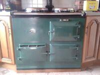Oil fired Aga cooker.