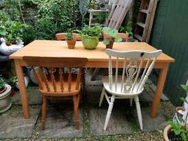 Large Solid Beech Kitchen Table & 2 Mismatched Chairs