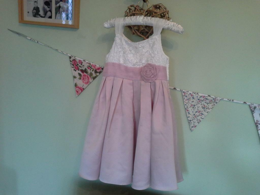 Reduced! Monsoon girls pink and white party / bridesmaid dress