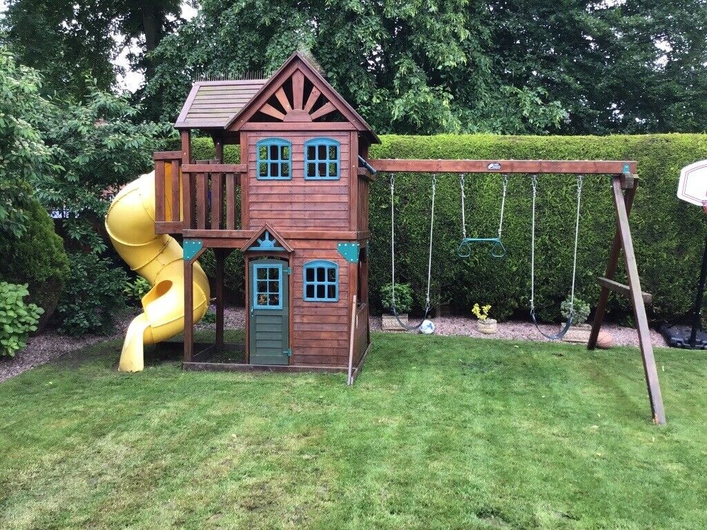 Childrens Wooden Playhouse With Slide Swings And Rings In Congleton Cheshire Gumtree