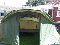 Tracker 2 man bivvy , TFG fishing bed with mattress and badger shelter