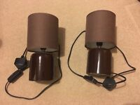 2 x Brown Bedside Table Lamps