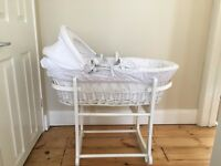 JOHN LEWIS WHITE WICKER MOSES BASKET WITH ROCKING STAND
