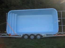 FOR SALE: NEW 6.6m x 3.8m glass fibre pool + fully assembled glass fibre pod + coping stones