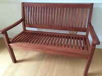 Beautiful Wood Garden Bench with Back and Arms