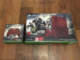 Xbox one S gears of war 4 limited edition 2TB with 2 matching controllers AS NEW boxed