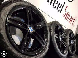 "NEW GENUINE BMW 17"" ALLOY WHEELS - 5 X 120 - 225/45/17 - CRYSTAL BLACK - Wheel Smart"