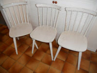 3 White Painted Wooden Chairs