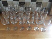 24 Wine Glasses (various sizes)