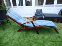 Reclining Sun Lounger made from solid hardwood teak with new cushion