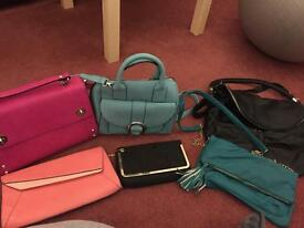 Job lot of 8 ladies handbags * monsoon * accessorize * primark