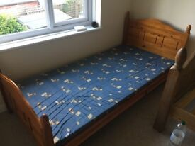 Single Pine Bed with Mattress from a non smoking household