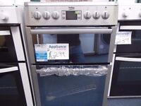 EX-DISPLAY BEKO 60 CM WIDE SILVER COOKER W/CERAMIC TOP REF: 31268