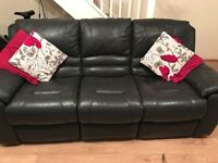 3 Seater leather manual reclining sofa and electric reclining chair. Charcoal grey