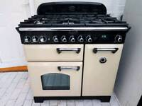 Rangemaster Classic Deluxe Dual Fuel Range Cooker and Hood Champagne Cream and Chrome