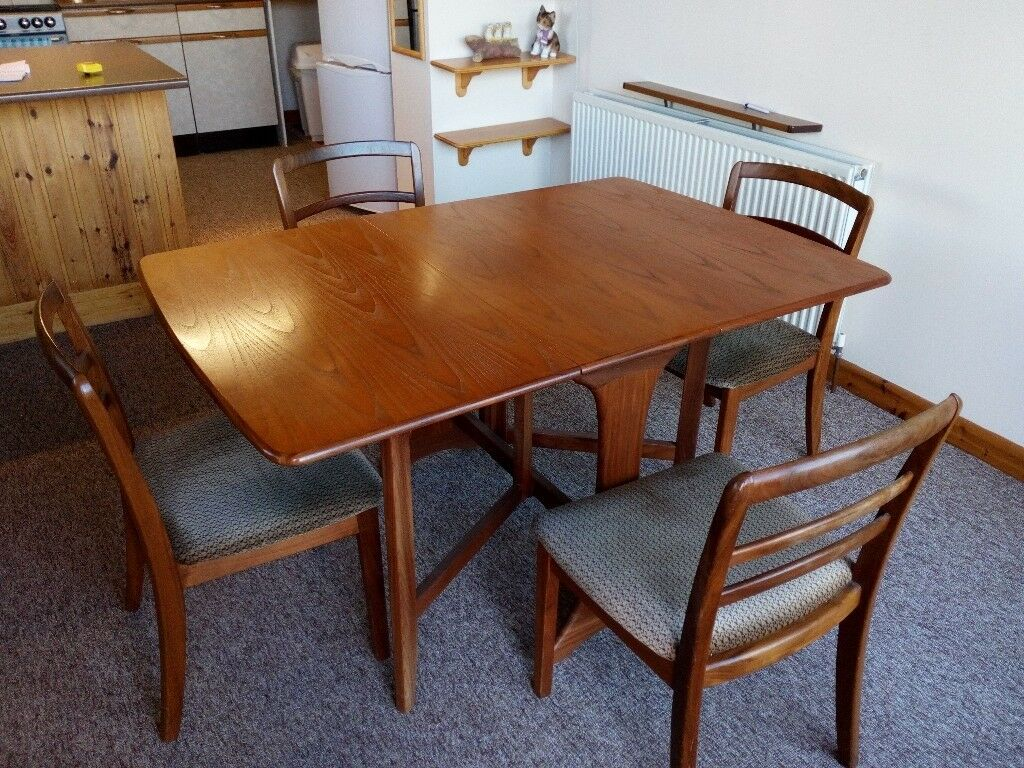 G Plan Drop Leaf Dining Table 4 Chairs