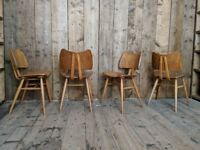 Ercol butterfly chairs x4 1960s natural finish mid century modern vintage modernism elm 401 gplanera