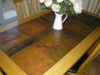 oak dinning table & chairs