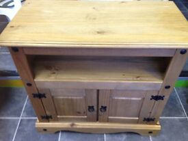 SOLID PINE AND IRONWORK 2 DOOR TV/STEREO CABINET VGC