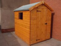 8X6FT APEX GARDEN SHED HEAVY DUTY T&G SOLID TIMBER ERECTED FULLY ASSEMBLED