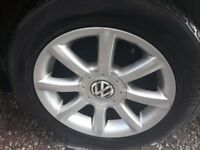 4 alloy wheels with 4 good tyres off a 2005 VW Passat 205/60 R15