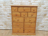 Multi drawer Welsh Pine chest (Delivery)