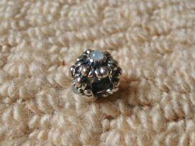 Pandora Barrel Clasp Bracelet Pale Blue Bead Flower Spacer Charm
