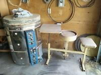 Electric kiln and pottery wheel