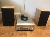 Denon UD-M30 mini stereo Hi-fi system with radio tuner, CD player, remote, and 2 speakers