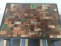 Industrial Chic Old Painted Teak/Iron Coffee Table