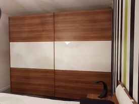 Beautiful walnut effect and white gloss double wardrobe, dresser and storage combination